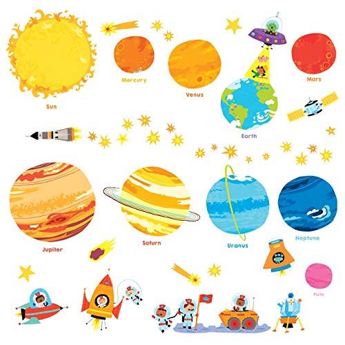 DECOWALL DW-1707N Planeta Espacio El Universo Vinilo Pegatinas Decorativas Adhesiva Pared Dormitorio Salón Guardería Habitación Infantiles Niños Bebés (English Ver.)