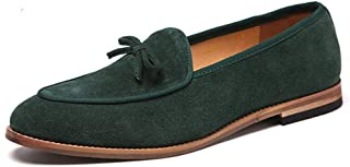 HUAHs0 Leisure Oxfords for Men Bowknot Loafers Slip on Suede Rubber Sole Pointed Toe Low Heel Wood-Like Sole Solid Color Stitching Non-slip` (Color : Buff, Size : 47 EU)
