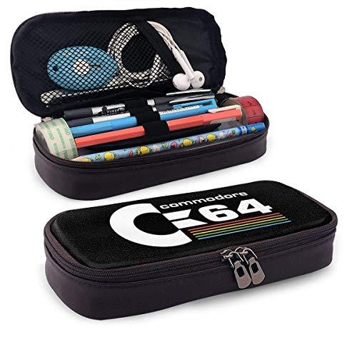 IUBBKI Commodore 64 Ledermäppchen, Hochleistungs-Studententasche, Bleistiftetui, tragbares Federmäppchen für Schul- und Büromaterial
