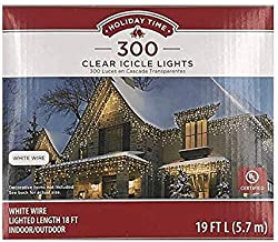 Holiday Times 300-count Icicle Outdoor String Lights Christmas Lights, Clear With White Wire