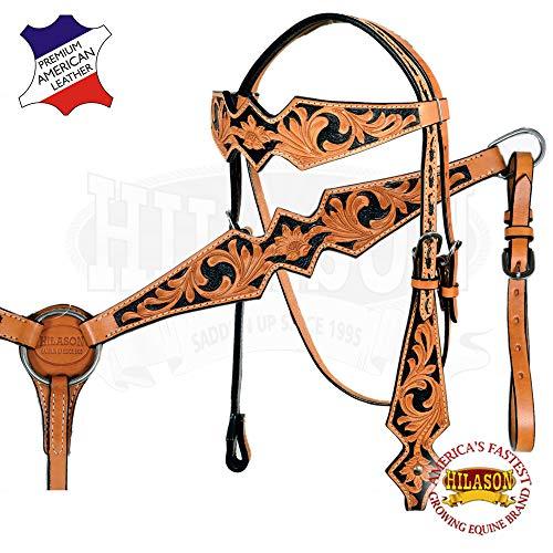 HILASON Western Horse Headstall Breast Collar Set Tack American Leather Tan Black