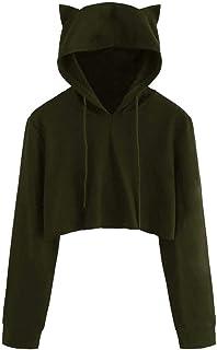 VESKRE Women's Cotton Cat Ear Long Sleeve Solid Hoodie Sweatshirt Hooded Pullover Tops Blouse