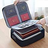 Oxford Document Bag with Safe Code Lock,Storage Pouch Credential Bag Diploma Storage Important Document and File Pocket, Laptop, Notebooks,Bank Cards Valuables Travel Bag with Separator (Black)