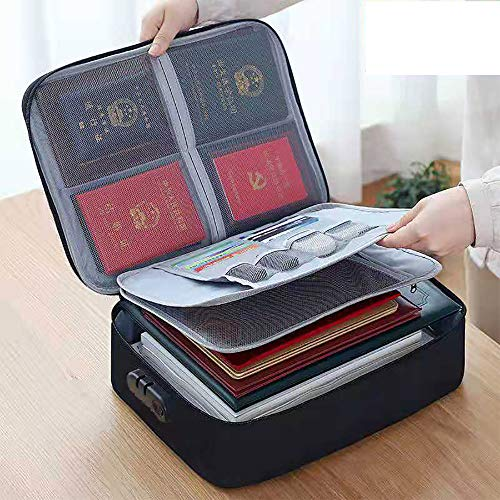 Oxford Document Bag with Safe Code LockStorage Pouch Credential Bag Diploma Storage Important Document and File Pocket Laptop NotebooksBank Cards Valuables Travel Bag with Separator Black