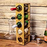 Maison & White Estante del vino de bambú   Soporte de 5 botellas de pared   Vitrina premontada de madera para vinos   Diseño modular apilable