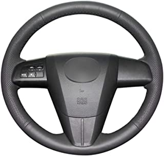 KDKDKLMB Cubierta del Volante Cubierta del Volante del Coche de Cuero Negro de Microfibra para Mazda