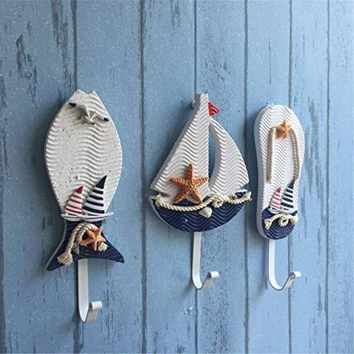 Perchero de pared estilo mediterráneo para sombreros náuticos, para colgar en la pared, para colgar ropa o abrigo, (tamaño: 23 x 6,7 x 3,1 cm; color: 2)