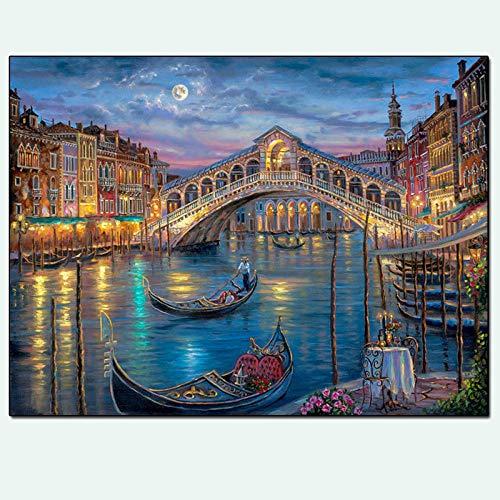 Diamant-schilderij 5D knutselen volledige diamanten rond diamant water stad Venetië 28 x 22 cm kristal strass borduurwerk kruissteek kunst handwerk wanddecoratie