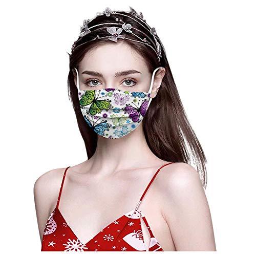 SOMESUN 100 Stück Weihnachten Erwachsene Einweg Mundschutz Mehrfarbig Print Mund und Nasenschutz Staubschutz Atmungsaktive Gesichtsschutz Bandana Loop Halstuch für Erwachsene