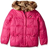 Tommy Hilfiger Girls' Adaptive Puffer Jacket with Magnetic Buttons and Faux Fur Hood, pink popsicle Large