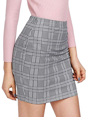 SheIn Women's Basic Stretch Plaid Mini Bodycon Pencil Skirt Small Grey