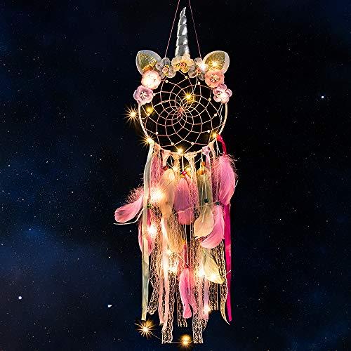 MMTX Einhorn Traumfänger mit LED Licht Handgemachte Dreamcatcher mit Federn Wand Dekoration Kunst Mädchen Zimmer Schlafzimmer Romantische Dekoration für Wandbehang Wohnkultur Ornamente Handwerk (Rosa)