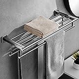 24 in Towel Rack with Double Towel Bar Stainless Steel Bathroom Towel Shelf Hotel Towel Holder Organizer Wall Mounted Toilet Wall Shelf Brushed Nickel VOLPONE