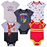 HARRY POTTER Boy's 5-Pack Hogwarts, Gryffindor and Wizard Creepers, Newborn