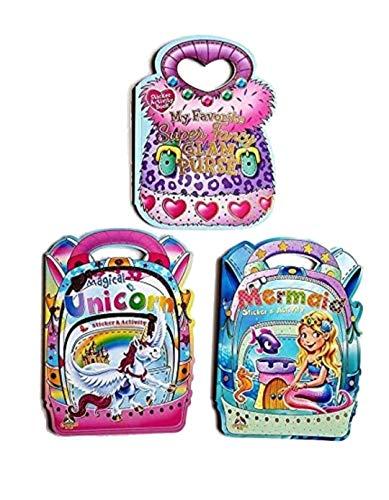 best bargins New!!! 3 Kids Sticker Activity Books - Mermaid, Magical Unicorn, Superfancy Glam Purse