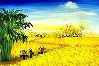 数字によるDIYデジタル絵画パッケージ収穫着色壁アート画像ギフトフレームレス40x50cm
