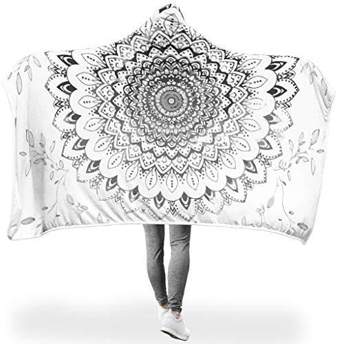 Toomjie Boho blüht Mandala PersonalityWearable Tapisserie Hooded Throw Wrap Ultra Weich Und Warm Kuscheldecke Winter Computer Fleecedecke Für Erwachsene Oder Kinder White #80 * 55#