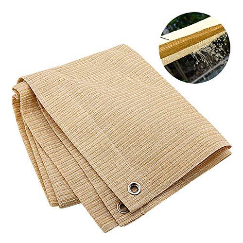 R&F - Pantalla de malla para balcón con ojal, 90 % resistente a los rayos UV para terraza/pérgola/patio trasero/plantas, color beige, 3×3m