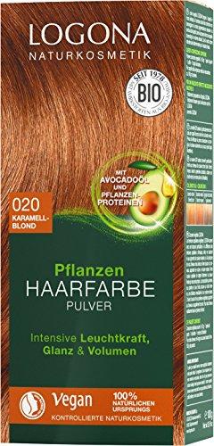 LOGONA Naturkosmetik Pflanzen-Haarfarbe Pulver 020 Karamellblond, Mit Avocadoöl, Vegan & Natürlich, Blonde Natur-Haarfarbe mit Henna, Coloration, (2x100g)