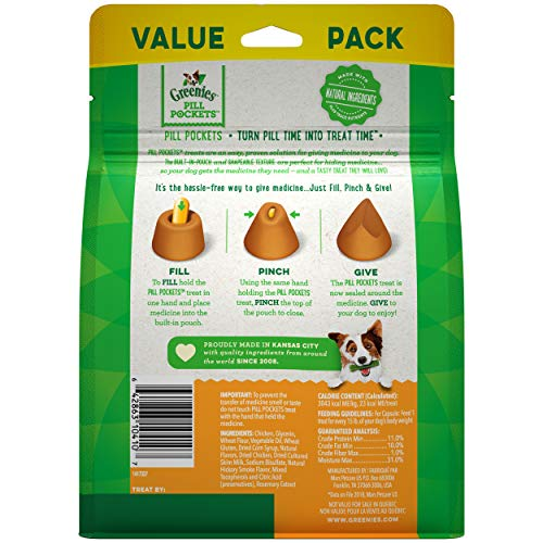GREENIES PILL POCKETS Soft Dog Treats, Chicken, Capsule 15.8-oz. 60-count pack