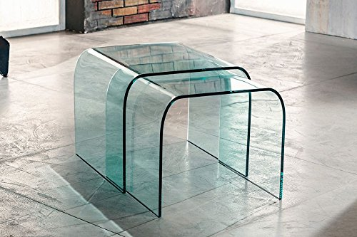 IMAGO FACTORY DUO - Paar Couchtische - Brücken aus gebogenem Glas transparent
