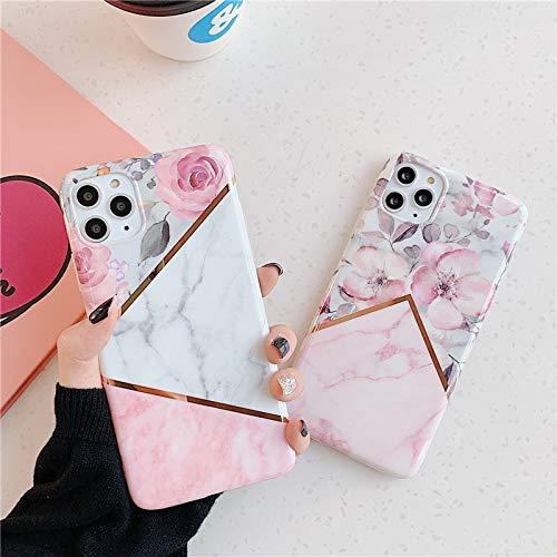 YABAISHI Stitching Mármol Rose iPhone12min / 11Promax Apple 8 / 7plus Caja de teléfono móvil XR (Color : Pink White, Size : Apple 12)