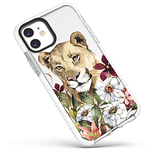 Case for iPhone 11,Chic Stylish Lion in Floral Flowers Leaves Jungle Pattern Funny Cool Trendy Design Soft Shockproof Protective Clear Case Cover for Girls Women Teens Compatible for iPhone 11