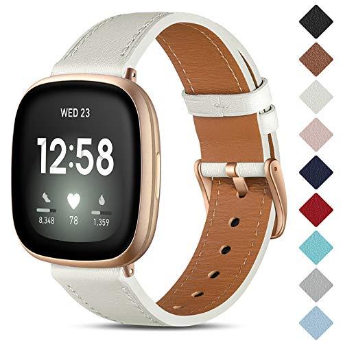 CeMiKa Cinturino in Pelle Compatibile con Fitbit Sense/Fitbit Versa 3, Cinturini di Ricambio in Vera Pelle Compatibile con Fitbit Sense/Fitbit Versa 3 Cinturino, Bianco/Oro Rosa