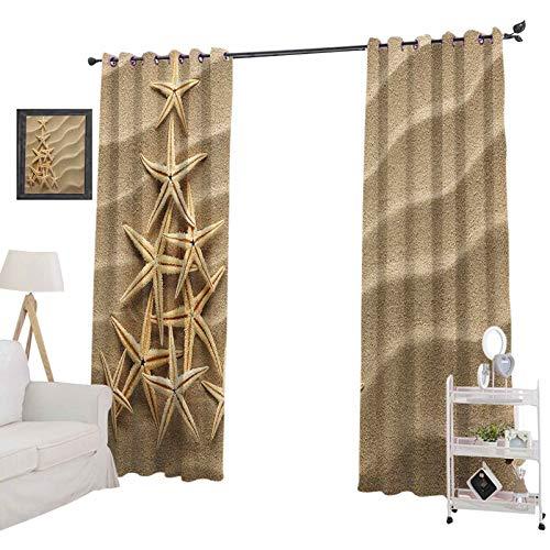 YUAZHOQI - Cortinas opacas para dormitorio, diseno de estrellas de mar, color marron claro