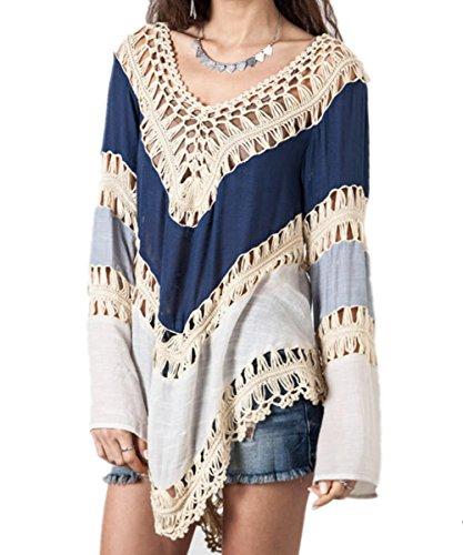 AiJump Crochet Túnica Vestido de Playa Kimonos Pareos Mujer Bohemia Verano Camisa