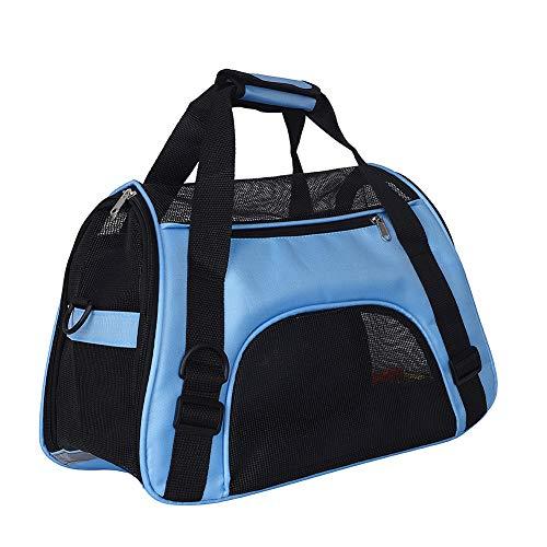 Fushida Mochila de viaje para mascotas de lado suave para perros y gatos, cómoda y plegable, bolsa de viaje ligera para animales pequeños con cremallera superior y laterales de malla (M, azul)