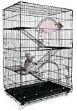 Petsmatig Wire Cat Cage: Spacious Foldable Metal Pet Crate Playpen with 3...