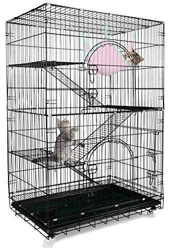 Petsmatig Wire Cat Cage: Spacious Foldable Metal Pet Crate Playpen
