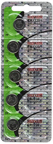 Maxell CR1220 3V Lithium Coin Cell Watch Batteries (5-Pack) by Maxell (English Manual)