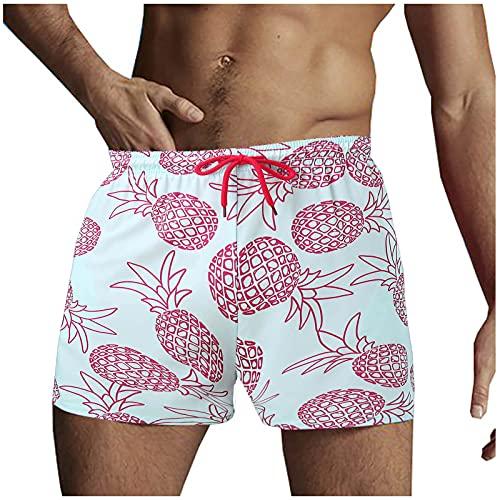 L9WEI Bañador para hombre con estampado de piña, pantalones cortos de verano, pantalones de natación informales, pantalones cortos de playa, con forro y cordón, Hombre, rojo, extra-large