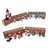 Kdjsic Christmas Woods Tren pequeño niños Decoraciones Festivas Navidad 24 días Tren de Cuenta atrás, Tren de Regalo Personalizado DIY