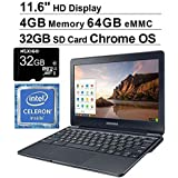 2020 Samsung 11.6 Inch Non-Touch Chromebook Laptop| Intel Celeron N3060 up to 2.48 GHz| 4GB LPDDR3 RAM| 64GB eMMC| WiFi| Bluetooth| HDMI| Chrome OS + NexiGo 32GB SD Card