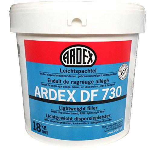 ARDEX DF730 Leichtspachtel 18kg, Gebrauchsfertiger, weißer dispersionsgebundener Spachtel. Zum Spachteln und Glätten von Wand- und Deckenflächen im Innenbereich. Hervorragende Haftung ohne Voranstrich auf vielen üblichen Untergründen.