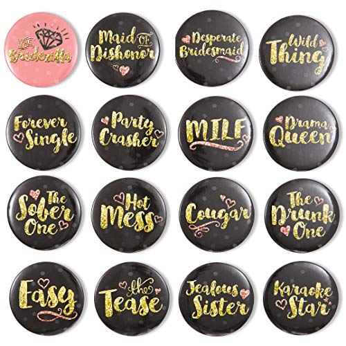 Pinback Knoppen - 16-Pack Bachelorette Party Knop Pins in 16 Ontwerpen voor Bruids Douche Party Favors, Zwart en Goud, 2.25 Inches Diameter