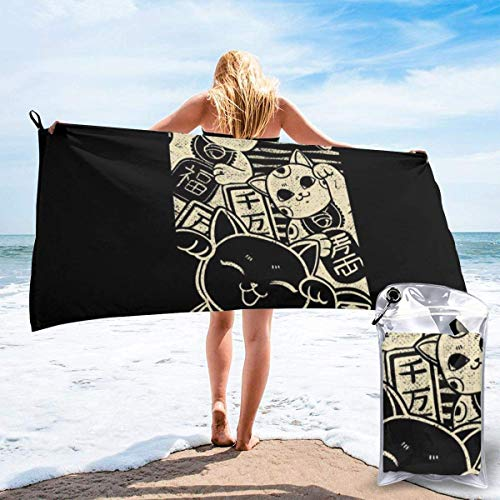 DaLaBengBa-shop Wish Me Luck Maneki Neko Microfiber Large Beach Towel, Convenient and Foldable, Equipped with Carabiner for Easy Storage, Soft Bath Towel, Quick-Drying Shower Towel