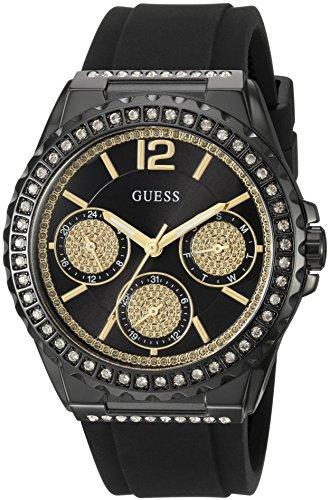 GUESS U0846L1 - Reloj deportivo para mujer, esfera negra, bisel acentuado con cristal y hebilla de silicona