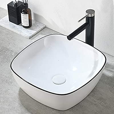 "VESLA HOME Modern Square 16""x16"" White Porcelain Black Edge Ceramic Bathroom Vessel Sink, Ceramic Basin Bathroom Sink for Lavatory Vanity Cabinet"