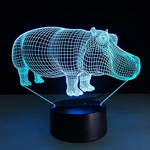 Luces De Noche Led Hipopótamo Con Luz De 7 Colores Para Lámpara De Decoración Del Hogar Visualización Increíble Ilusión Óptica Regalo De Chico Impresionante