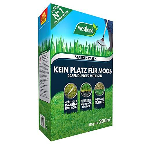 Westland Kein Platz für Moos 733513, Rasendünger mit Eisen, Für moosbelastete Flächen, Granulat, Dunkelbraun, 5 kg für 200m²