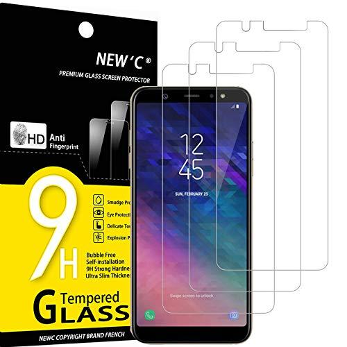 NEW'C 3 Stück, Schutzfolie Panzerglas für Samsung Galaxy A6 Plus (2018), Frei von Kratzern, 9H Festigkeit, HD Bildschirmschutzfolie, 0.33mm Ultra-klar, Ultrawiderstandsfähig