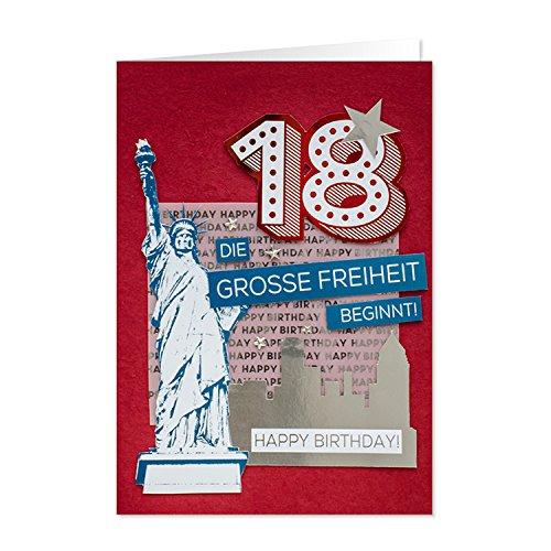 GRUSS & CO 90219 XL Grußkarte Geburtstag, Karte 18. Geburtstag, Die große Freiheit beginnt, 42 cm x 30 cm, mit Kuvert