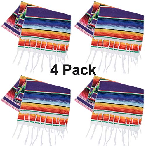 Tenpluszero Mexican Table Runner for Fiesta Party,Mexican Theme Party,Wedding Decorations,Carnival Party Supplies,Fringe Cotton Serape Table Runner 14in x 84in (Purple, 1484inch)