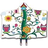 Owls Home Economic Wearable Hooded Blanket, Eulen im Baum mit verrückten Augen Mosaic Dots Magic in der Luft Nocturnal Wise Mascot