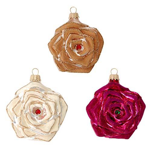 Krebs Glas Lauscha - Christbaumschmuck - Glasschmuck - Glamour Christmas Rosen im 3er Set in Champagner/Cappuchino & Burgunder - 7cm