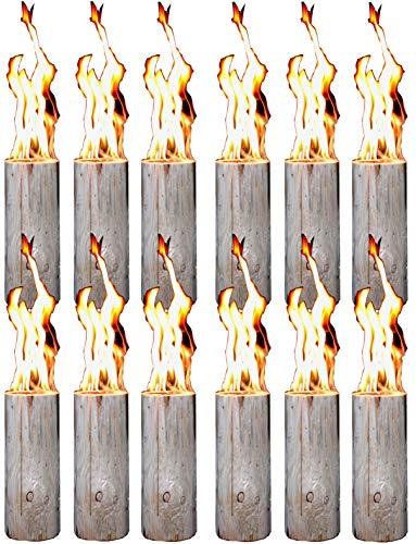 Hoyo Technology GmbH 12 Stück Schwedenfeuer Baumfackel Finnenfackel Gartenfackel Fackel Höhe = 35 cm; Ø = 9-15 cm
